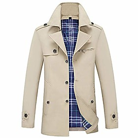 men's casual trench coat single breasted classic overcoat business jacket slim fit khaki