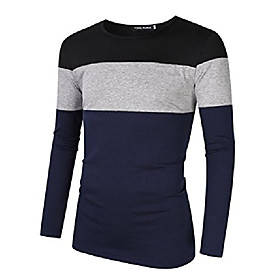 men's casual stitching tops shirts slim fit crew neck long sleeve basic cotton t-shirt s