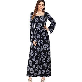 Halloween Women's A-Line Dress Maxi long Dress - Long Sleeve Skulls Print Print Fall Square Neck Vintage Slim 2020 Black S M L XL XXL