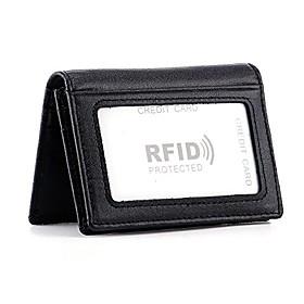men's bifold front pocket wallet genuine leather rfid blocking card billfold 5 slots with cash clip, black