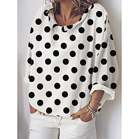 Women's Blouse Shirt Polka Dot Long Sleeve Round Neck Tops Basic Top White Blue Khaki
