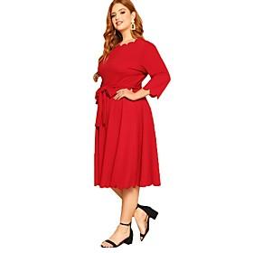 Women's A-Line Dress Knee Length Dress - 3/4 Length Sleeve Solid Color Patchwork Fall Plus Size Elegant Chiffon 2020 Red 3XL 4XL 5XL 6XL