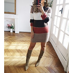 Women's Shift Dress Knee Length Dress - Long Sleeve Color Block Patchwork Fall Winter Casual 2020 Blue Wine Green Brown S M L XL XXL 3XL
