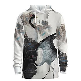 Men's Weekend Pullover Hoodie Sweatshirt Graphic Chinese Style Bird Hooded Casual Streetwear Hoodies Sweatshirts  Long Sleeve White