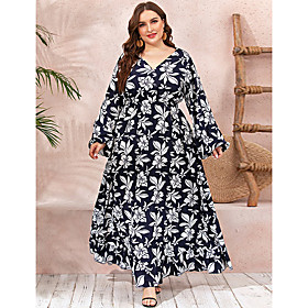Women's Swing Dress Maxi long Dress - Long Sleeve Floral Ruched Print Fall V Neck Casual Going out Slim 2020 Black XL XXL 3XL 4XL
