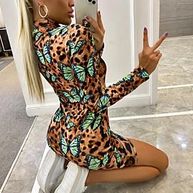 Women's A-Line Dress Short Mini Dress - Long Sleeve Leopard Print Print Spring Fall Sexy Slim 2020 Brown S M L