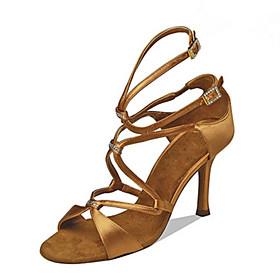 Women's Latin Shoes Heel Slim High Heel PU Leather Buckle Black / Brown