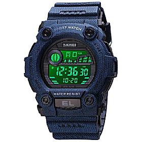 men's digital watch multifunction chronograph backlight swim waterproof rubber alarm black date women unisex watches (stripe blue)