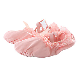 Women's Dance Shoes Ballet Shoes / Practice Trainning Dance Shoes Flat Bowknot / Lace Flat Heel Red / Pink / Performance
