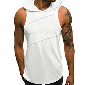 men's hooded t-shirt sleeveless, men's solid workout hooded tank tops muscle cut off t shirt sleeveless gym hoodies amiley (small, white)