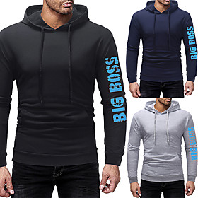 Men's Hoodie Artistic Style Hoodie Letter Printed Sport Athleisure Pullover Breathable Soft Comfortable Exercise  Fitness Everyday Use Exercising General Use