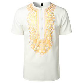 men's african traditional hidden button short sleeve shirt luxury metallic gold printed dashiki red x-large