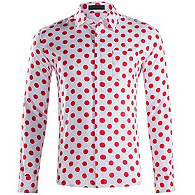 men's casual dress cotton polka dots long sleeve fitted button down shirts white red m