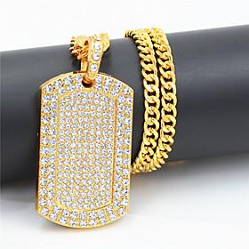 Men's Women's Clear Cubic Zirconia Pendant Necklace Necklace Pave European Hip Hop Chrome Imitation Diamond Gold 75 cm Necklace Jewelry 1pc For Street Sport Gi