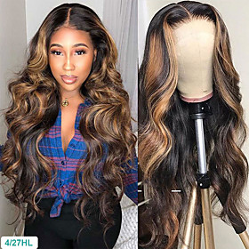 Synthetic Wig Body Wave Middle Part Wig Long Very Long Black / Gold Synthetic Hair 65 inch Women's Party Highlighted / Balayage Hair Dark Roots Blonde