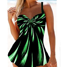 Women's Sexy High-Waisted Online Canada Tankini Swimsuit Print High Waist Rainbow Strap Swimwear Bathing Suits Purple Green Rainbow / Padded Bras