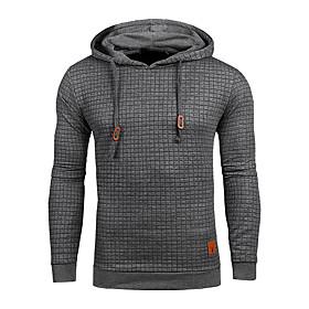Men's Hoodie Pullover Sweatshirt Solid Colored Sports  Outdoors Hoodies Sweatshirts  White Black khaki