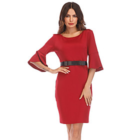 Women's A-Line Dress Knee Length Dress - 3/4 Length Sleeve Solid Color Clothing Summer Casual Flare Cuff Sleeve Slim 2020 Black Blue Red S M L XL XXL