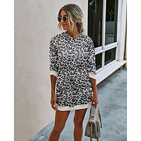 Women's Shift Dress Short Mini Dress - Long Sleeve Print Patchwork Print Spring Fall Casual Loose 2020 White Black Blue Camel Green Gray S M L XL