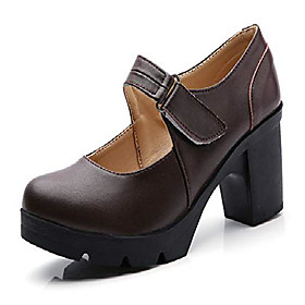 women's leather classic mid heel mary jane square toe oxfords platform dress pumps shoes brown us size 5