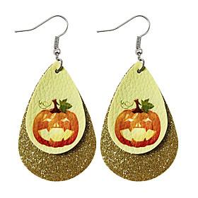 Men's Women's Hoop Earrings Pear Cut Drop Bat Monster Earrings Jewelry Light Yellow / White / Purple For Halloween 2pcs