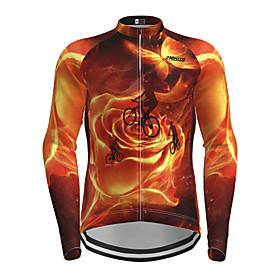 Men's Long Sleeve Cycling Jersey Orange Novelty Bike Jersey Top Mountain Bike MTB Road Bike Cycling Quick Dry Sports Clothing Apparel / Micro-elastic