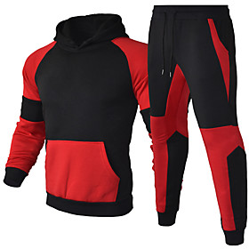 Men's 2-Piece Patchwork Tracksuit Sweatsuit Jogging Suit Long Sleeve 2pcs Thermal Warm Breathable Moisture Wicking Fitness Gym Workout Running Jogging Training