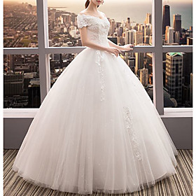 Ball Gown Wedding Dresses Off Shoulder Floor Length Lace Tulle Short Sleeve Romantic Elegant with Beading Appliques 2020