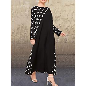 Women's Swing Dress Maxi long Dress - Long Sleeve Polka Dot Patchwork Print Fall Casual Cotton Loose 2020 Black L XL XXL 3XL 4XL 5XL