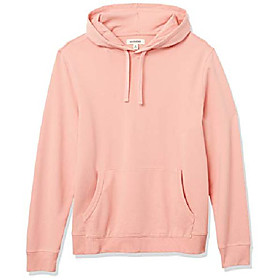 amazon brand - men's lightweight french terry pullover hoodie sweatshirt, coral, xx-large