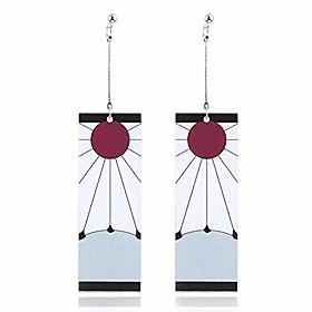 tanjiro earrings hanafuda earrings demon slayer cosplay kimetsu no yaiba tanjiro cosplay anime earrings (pin b) white