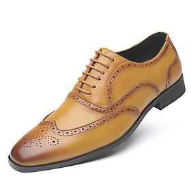 Men's Oxfords Business / Baroque Wedding Party  Evening Walking Shoes Leather Height-increasing Light Brown / Black / Yellow