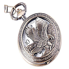 men's vintage steampunk bronze eagle engraving quartz pocket watch with chain