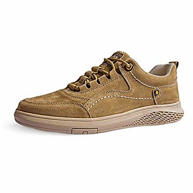 men's casual retro leather sneakers breathable wear-resistant footwear skate flat shoes khaki 12