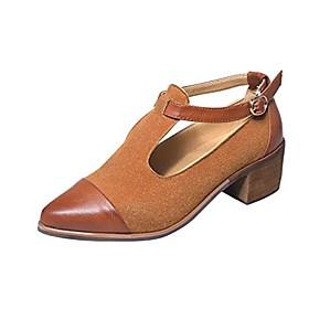 women's vintage t-strap dance shoe women's pointed toe buckle oxfords brown