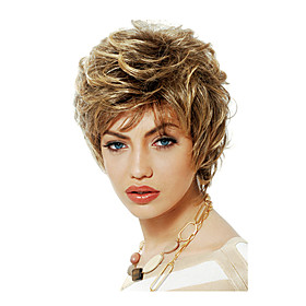 Synthetic Wig Curly Layered Haircut Wig Short Brown Synthetic Hair Women's Fashionable Design Exquisite Fluffy Brown