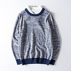 Men's Basic Knitted Color Block Pullover Cotton Long Sleeve Sweater Cardigans Crew Neck Spring Fall Black Blue