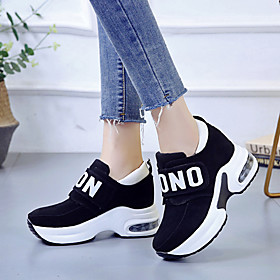 Women's Trainers / Athletic Shoes Hidden Heel Round Toe Casual Daily Outdoor Slogan Faux Leather Black / Red / Gray