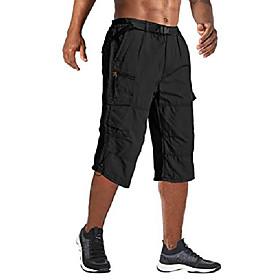 cargo shorts for men big and tall 3 4 shorts below knee shorts capris pants casual shorts loose fit with pockets black, 30