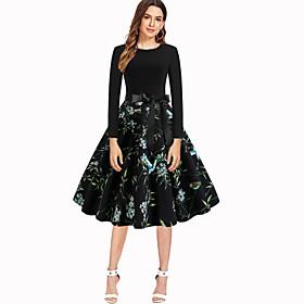 Women's Swing Dress Knee Length Dress - Long Sleeve Print Bow Zipper Print Spring Vintage Christmas Slim 2020 Black Red Blushing Pink Green S M L XL XXL