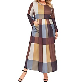 Women's Shift Dress Maxi long Dress - Long Sleeve Check Patchwork Print Spring Fall V Neck Plus Size Casual 2020 Brown L XL XXL 3XL 4XL 5XL