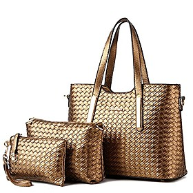 174;women 3 piece tote bag pu leather weave handbag shoulder purse bags (gold)