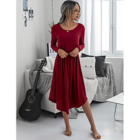 Women's A-Line Dress Midi Dress - Long Sleeve Solid Color Ruched Fall Casual 2020 Black Wine Royal Blue S M L XL