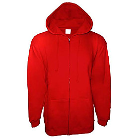men's adult solid premium cotton vintage fleece full covered zipper sweatshirts jacket hoodie (medium, red)