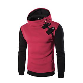Men's Hoodie Color Block Solid Colored Hooded Hat Simple Classic Style Hoodies Sweatshirts  Loose Black Red Light gray