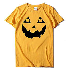 Women's Halloween T-shirt Graphic Prints Pumpkin Print Round Neck Tops 100% Cotton Basic Halloween Basic Top Yellow Blushing Pink Wine