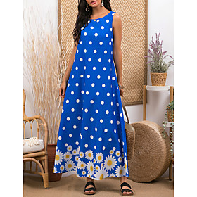 Women's A-Line Dress Maxi long Dress - Sleeveless Floral Print Summer Casual 2020 Blue M L XL XXL 3XL
