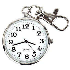 men's silvery-tone ultra thin railroad open face quartz pocket watch with key buckle(christmas gift)