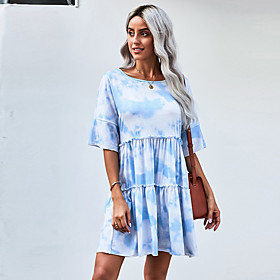 Women's A-Line Dress Knee Length Dress - Half Sleeve Print Ruched Patchwork Print Summer Casual Loose 2020 White S M L XL