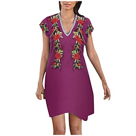 Women's Tshirt Dress Floral Flower Embroidered V Neck Tops Loose Cotton Basic Basic Top Purple Gray